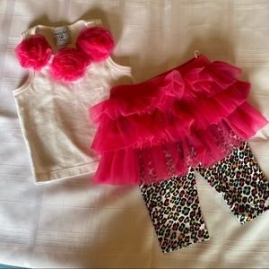 Mud Pie Two Piece Tutu Outfit with Leggings